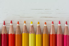 Colored crayon tips. On a white background Stock Photo
