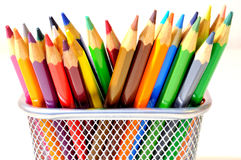Colored crayons. In a steel pencil box Royalty Free Stock Image