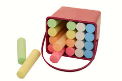 Colored crayons. Colored crayons in plastic container Royalty Free Stock Photo