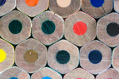 Colored crayons bottom Stock Images