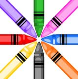 Colored crayons in a circle Stock Images