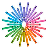 Colored Crayons Color Wheel. Photograph crayons arranged in circle color wheel on white background Royalty Free Stock Photography