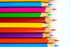 Colored crayons detail. Colored pencils isolated on a white background Royalty Free Stock Images