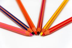 Colored crayons radial concept. Colored crayons disposed radial. Concept drawing. Wood art pencil for drawing, sketching, artist, instrument Royalty Free Stock Photo