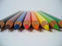 Colored Crayons I. Close-up of colored wooden crayons Stock Photography