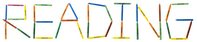 Colored Crayons Spelling READING Stock Photo