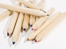Colored crayons. To draw, in natural wood Stock Images