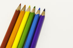 Colored crayons. On the white background, school Stock Photo