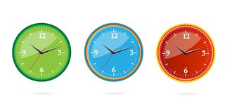 Colored and creative classic clocks set Stock Image