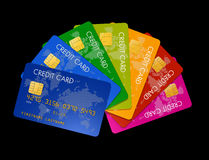 Colored credit cards Stock Image