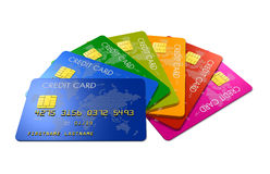 Colored credit cards Royalty Free Stock Photography