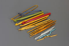 Colored crochet hooks knitting Stock Images