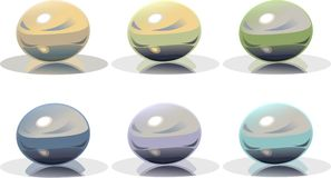 Colored crystal magic balls Royalty Free Stock Images