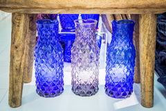 Colored crystal vases Royalty Free Stock Photography
