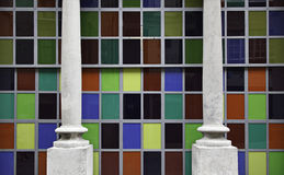 Colored crystals. Modernist facade of colored glass Royalty Free Stock Image