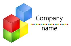 Colored cubes 3D logo Royalty Free Stock Images