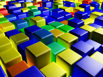Colored cubes. Abstraction-3d render of different colored cubes Royalty Free Stock Photos
