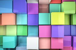Colored cubes background. 3d colored shiny cubes background stock illustration