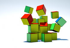 Colored cubes collapsible Stock Photo