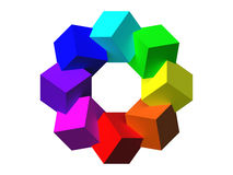 Colored cubes 3D. Royalty Free Stock Photography