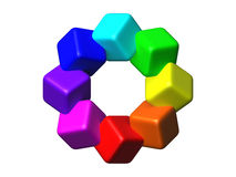 Colored cubes 3D. Stock Photos