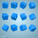 Colored cubes 3d art object Royalty Free Stock Photo