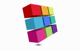 Colored cubes 3D. Illustrations-clipart colored cubes 3D Stock Photo