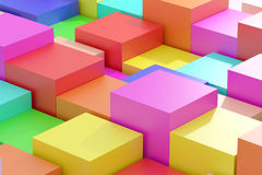 Colored cubes. 3d rendering of an abstract composition with cubes of a lot of colors Royalty Free Stock Image
