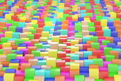 Colored cubes. 3d rendering of an abstract composition with cubes of a lot of colors Royalty Free Stock Photos