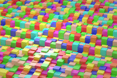 Colored cubes. 3d rendering of an abstract composition with cubes of a lot of colors Vector Illustration