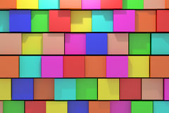 Colored cubes. 3d rendering of an abstract composition with cubes of a lot of colors Stock Illustration