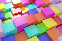 Colored cubes. 3d rendering of an abstract composition with cubes of a lot of colors Stock Photos
