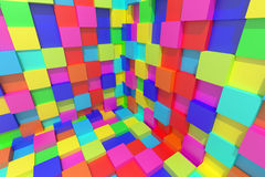Colored cubes. 3d rendering of an abstract composition with cubes of a lot of colors Royalty Free Stock Images