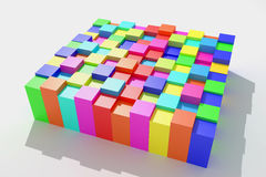 Colored cubes. 3d rendering of an abstract composition with cubes of a lot of colors Royalty Free Stock Photography