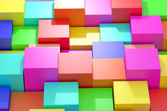 Colored cubes. 3d rendering of an abstract composition with cubes of a lot of colors Stock Image