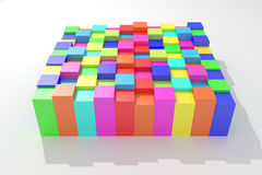 Colored cubes. 3d rendering of an abstract composition with cubes of a lot of colors Stock Images