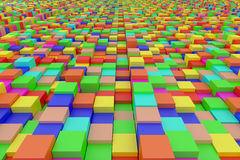 Colored cubes. 3d rendering of an abstract composition with cubes of a lot of colors Royalty Free Stock Photo