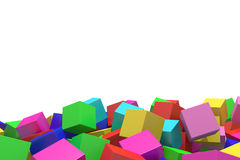 Colored cubes. 3d rendering of an abstract composition with cubes of a lot of colors Stock Photography