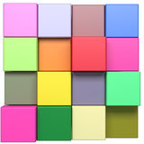 Colored cubes. 3d rendering with cubes of a lot of colors Royalty Free Stock Photos