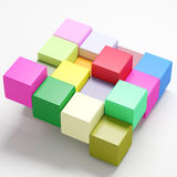 Colored cubes. 3d rendering with cubes of a lot of colors Stock Photos
