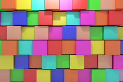 Colored cubes. 3d rendering with cubes of a lot of colors Royalty Free Stock Image