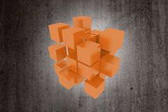 Colored cubes. 3d rendering with a lot of orange cubes on a dirty background Royalty Free Stock Images