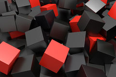 Colored cubes. 3d rendering with red and black cubes on an abstract composition Vector Illustration