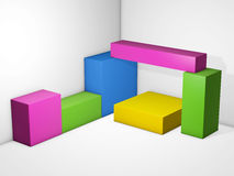 Colored cubes display. Multi box showcase store. Blocks stacked together 3D illustration. Multi box showcase store. Colored cubes display. Blocks stacked Royalty Free Stock Image