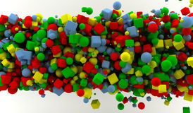 Colored cubes and spheres Stock Photography