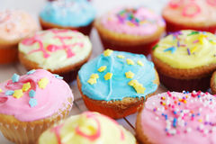 Colored cup cakes Stock Photos