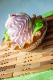 Colored cupcake on napkins in sunlight Royalty Free Stock Photography