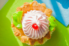 Colored cupcake on napkins in sunlight Stock Images