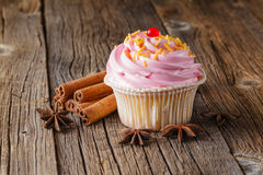 Colored cupcake on rustic background Stock Photography