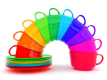 Colored cups in arc Royalty Free Stock Image